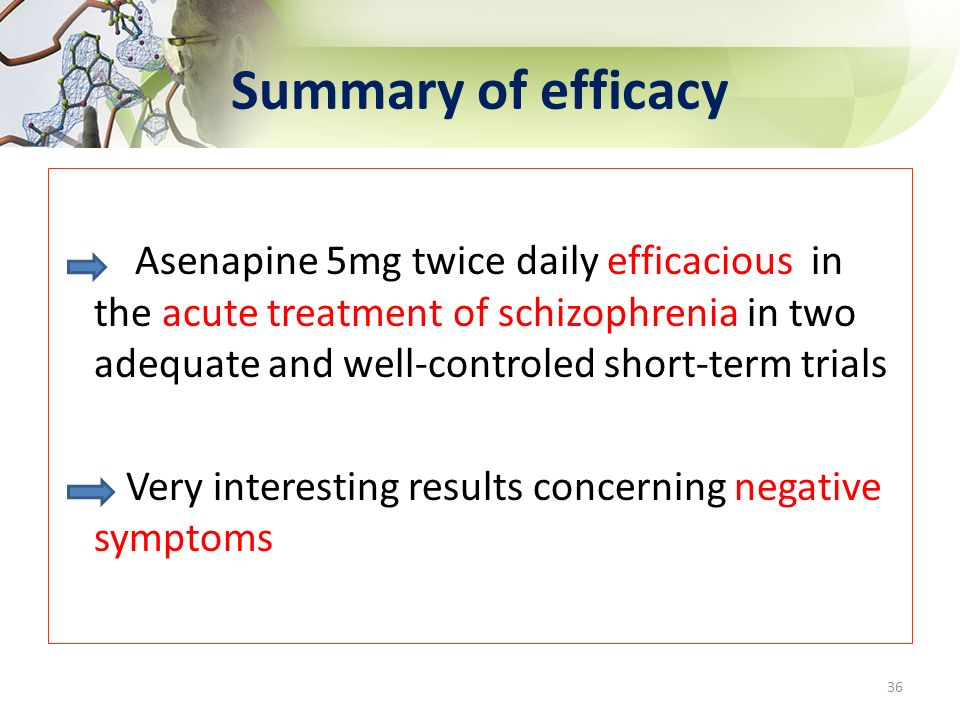 Summary of efficacy Asenapine 5mg twice daily efficacious in the acute treatment of schizophrenia in two adequate and well-controled short-term trials