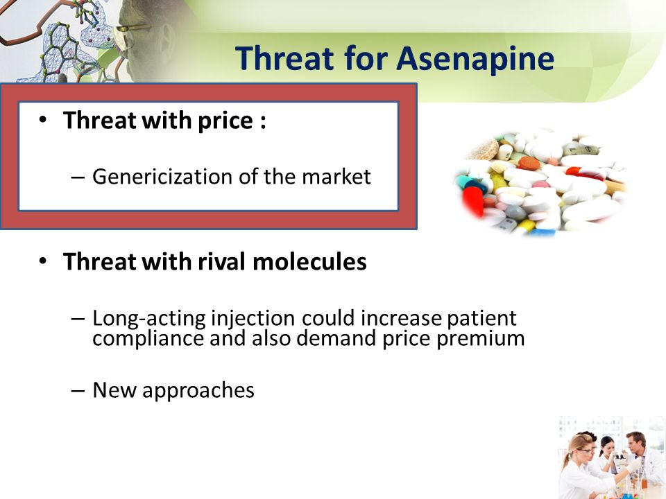 Threat for Asenapine Threat with price : – Genericization of the market Threat with rival molecules – Long-acting injection could increase patient com
