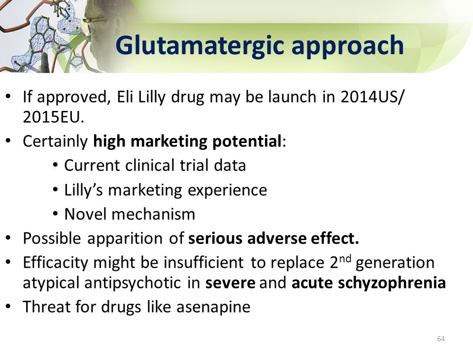 Glutamatergic approach 64 If approved, Eli Lilly drug may be launch in 2014US/ 2015EU. Certainly high marketing potential: Current clinical trial data