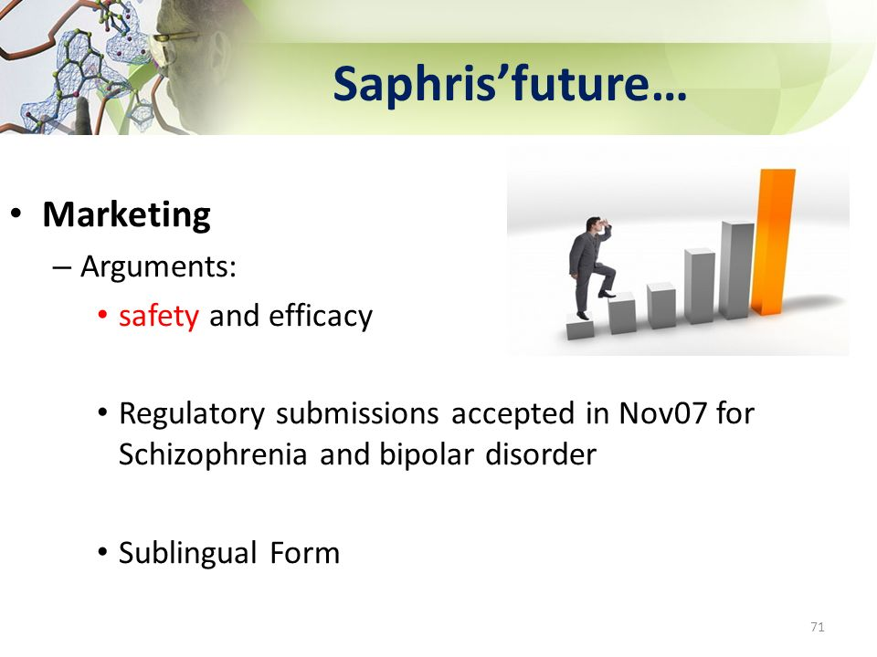 Saphrisfuture… Marketing – Arguments: safety and efficacy Regulatory submissions accepted in Nov07 for Schizophrenia and bipolar disorder Sublingual F