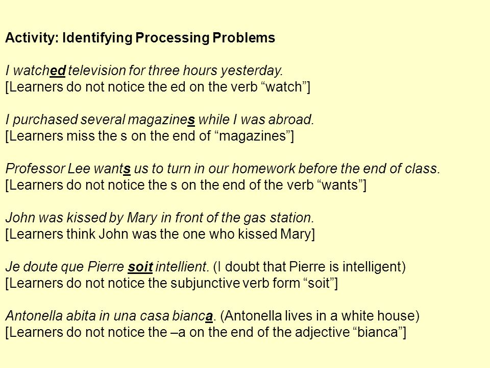 Activity: Identifying Processing Problems I watched television for three hours yesterday. [Learners do not notice the ed on the verb watch] I purchas