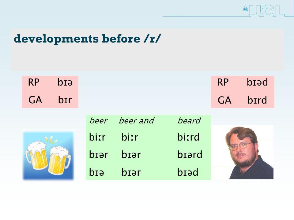 developments before /r/ beerbeer andbeard biːr biːr biːrd bɪər bɪər bɪərd bɪə bɪər bɪəd RP bɪə GA bɪr RP bɪəd GA bɪrd