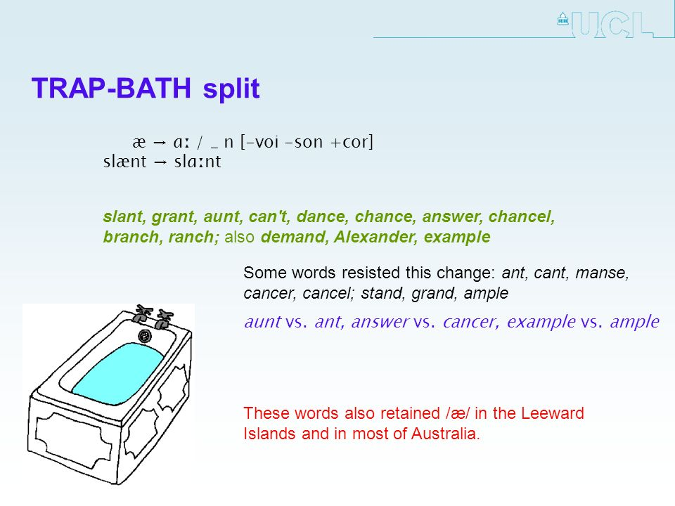 TRAP-BATH split æ ɑː / _ n [-voi -son +cor] slænt slɑːnt Some words resisted this change: ant, cant, manse, cancer, cancel; stand, grand, ample aunt vs.