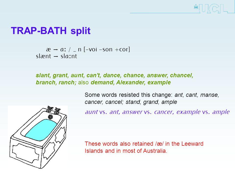 TRAP-BATH split æ ɑː / _ n [-voi -son +cor] slænt slɑːnt Some words resisted this change: ant, cant, manse, cancer, cancel; stand, grand, ample aunt v
