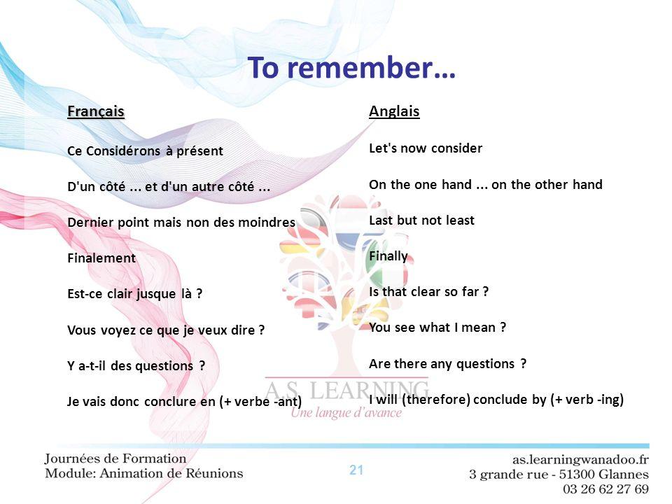 21 To remember… Français Français Ce Considérons à présent D'un côté... et d'un autre côté... Dernier point mais non des moindres Finalement Est-ce cl