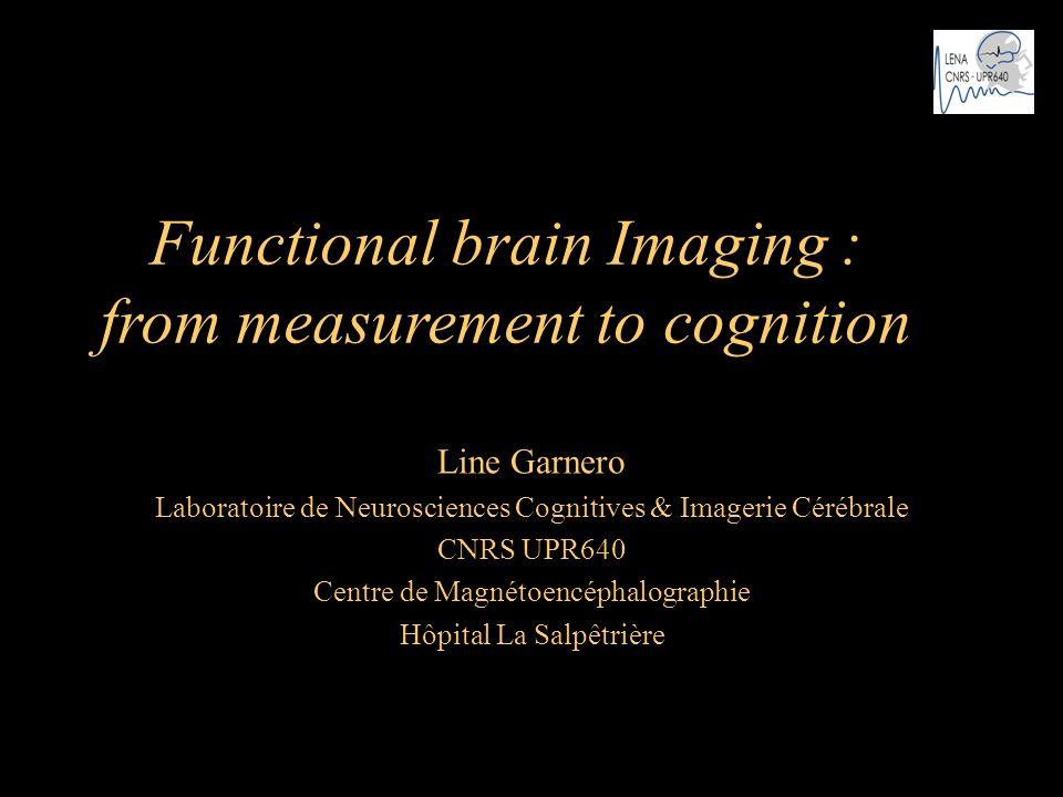 Functional brain Imaging : from measurement to cognition Line Garnero Laboratoire de Neurosciences Cognitives & Imagerie Cérébrale CNRS UPR640 Centre