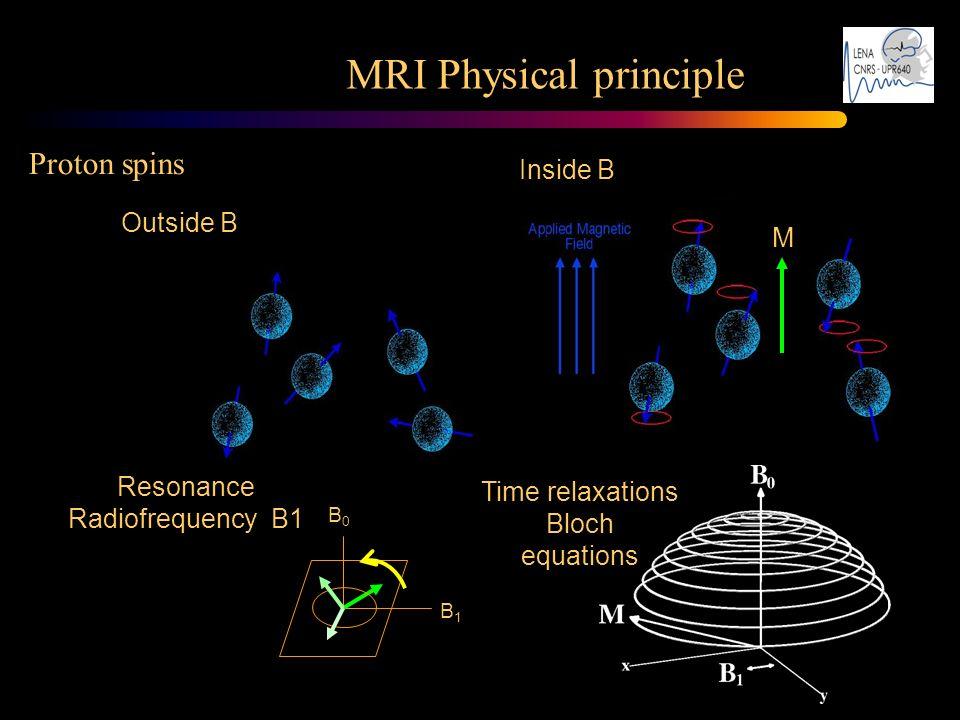 Outside B Inside B M Resonance Radiofrequency B1 B1B1 B0B0 Time relaxations Bloch equations MRI Physical principle Proton spins