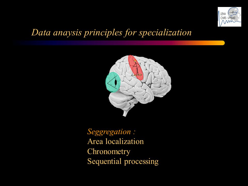 Data anaysis principles for specialization Seggregation : Area localization Chronometry Sequential processing