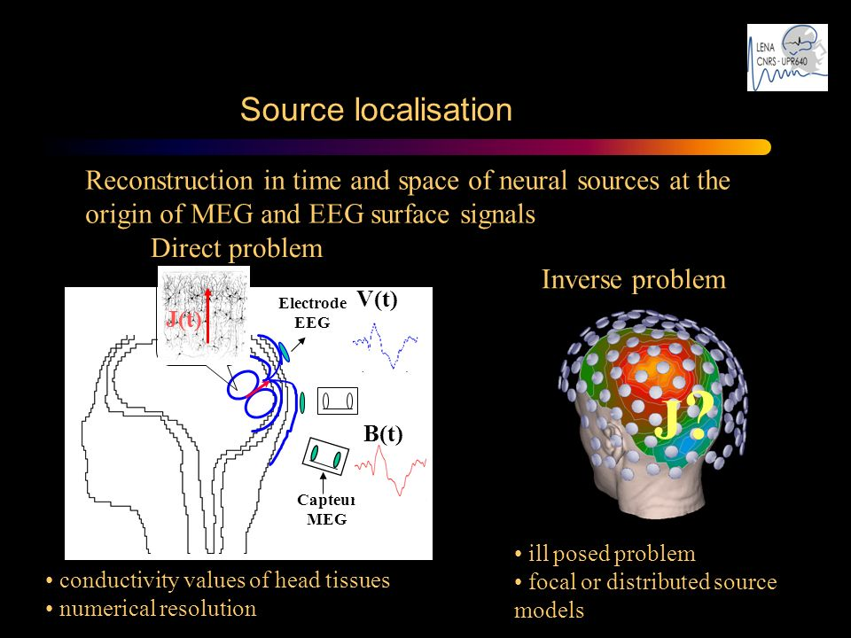 Source localisation Reconstruction in time and space of neural sources at the origin of MEG and EEG surface signals J?J? Inverse problem ill posed pro