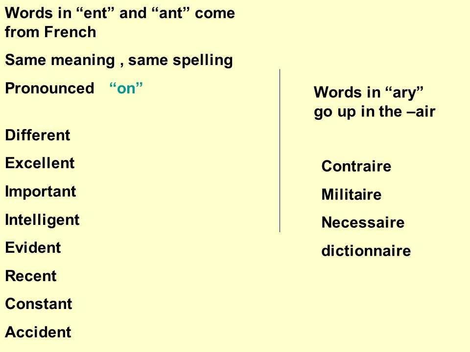 Words in ent and ant come from French Same meaning, same spelling Pronounced on Different Excellent Important Intelligent Evident Recent Constant Accident Words in ary go up in the –air Contraire Militaire Necessaire dictionnaire