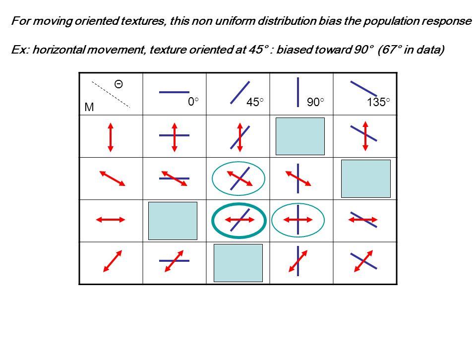 Θ M 0° 45°90°135° For moving oriented textures, this non uniform distribution bias the population response Ex: horizontal movement, texture oriented a