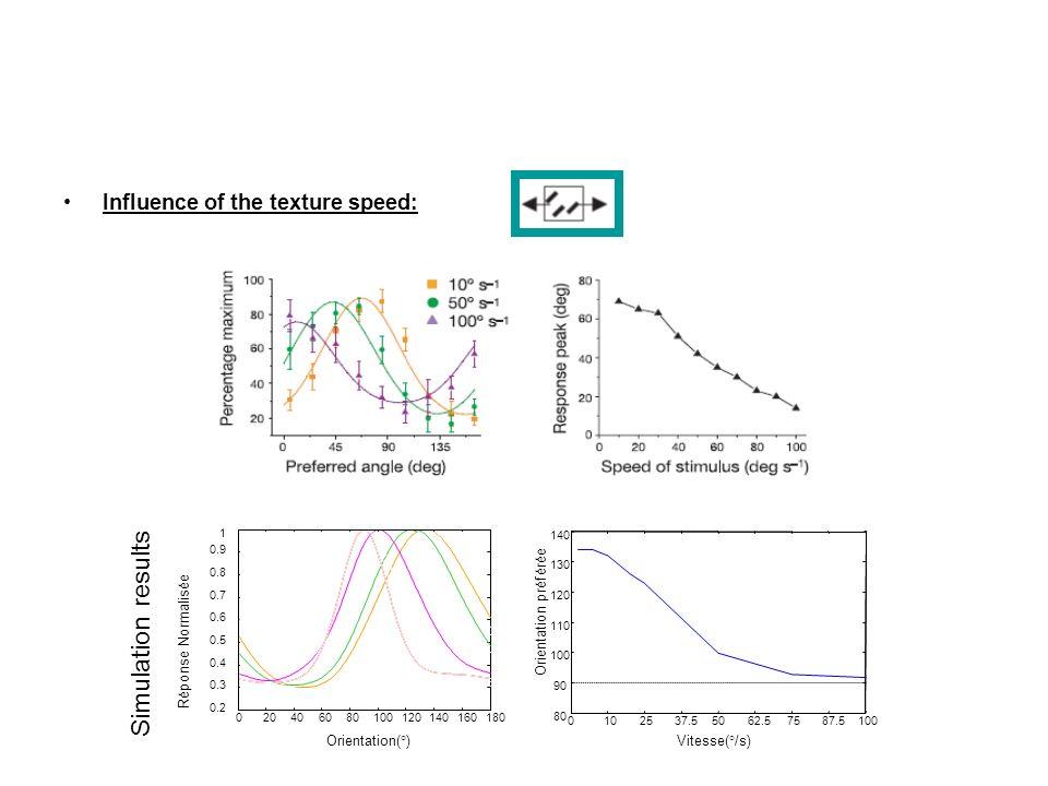 Influence of the texture speed: 0102537.55062.57587.5100 80 90 100 110 120 130 140 Vitesse(°/s) Orientation préférée 020406080100120140160180 0.2 0.3