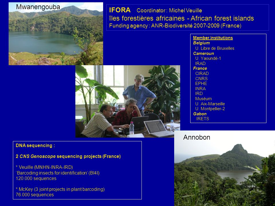 IFORA Coordinator : Michel Veuille îles forestières africaines - African forest islands Funding agency : ANR-Biodiversité 2007-2009 (France) DNA seque