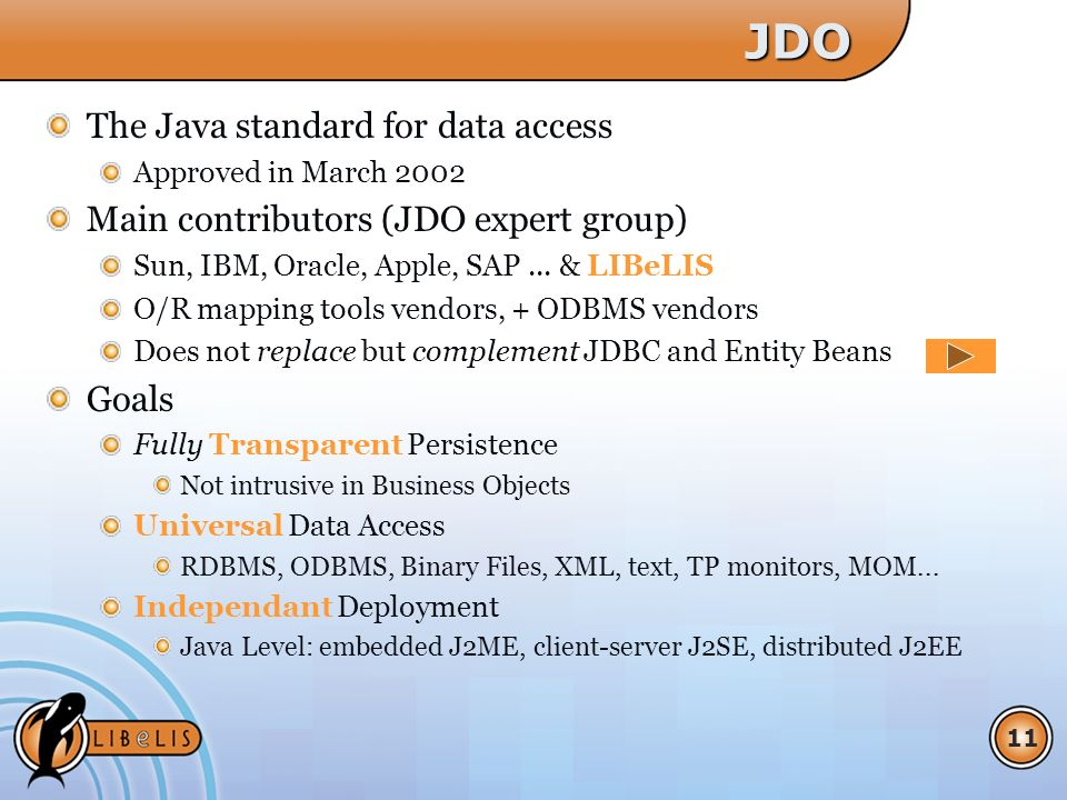 11JDO The Java standard for data access Approved in March 2002 Main contributors (JDO expert group) Sun, IBM, Oracle, Apple, SAP...