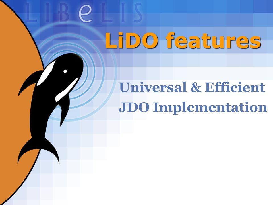 27 LiDO features Universal & Efficient JDO Implementation