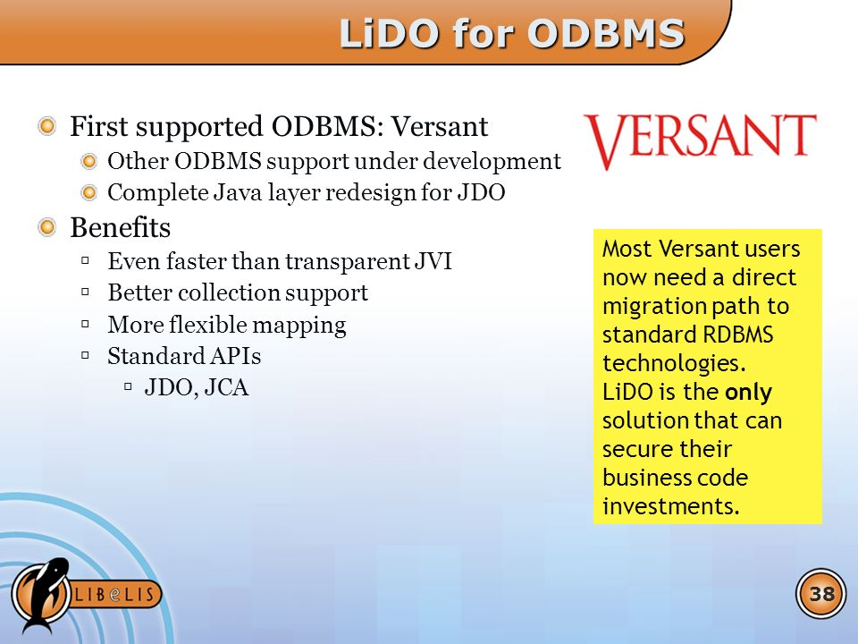 38 LiDO for ODBMS First supported ODBMS: Versant Other ODBMS support under development Complete Java layer redesign for JDO Benefits Even faster than transparent JVI Better collection support More flexible mapping Standard APIs JDO, JCA Most Versant users now need a direct migration path to standard RDBMS technologies.