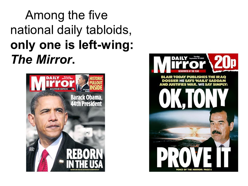 Among the five national daily tabloids, only one is left-wing: The Mirror.