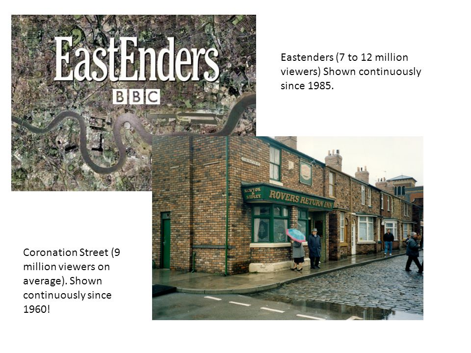 Eastenders (7 to 12 million viewers) Shown continuously since 1985.