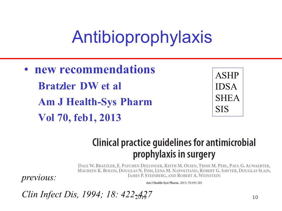 201310 Antibioprophylaxis new recommendations Bratzler DW et al Am J Health-Sys Pharm Vol 70, feb1, 2013 previous: Clin Infect Dis, 1994; 18: 422-427 ASHP IDSA SHEA SIS