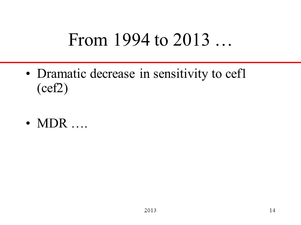 201314 From 1994 to 2013 … Dramatic decrease in sensitivity to cef1 (cef2) MDR ….