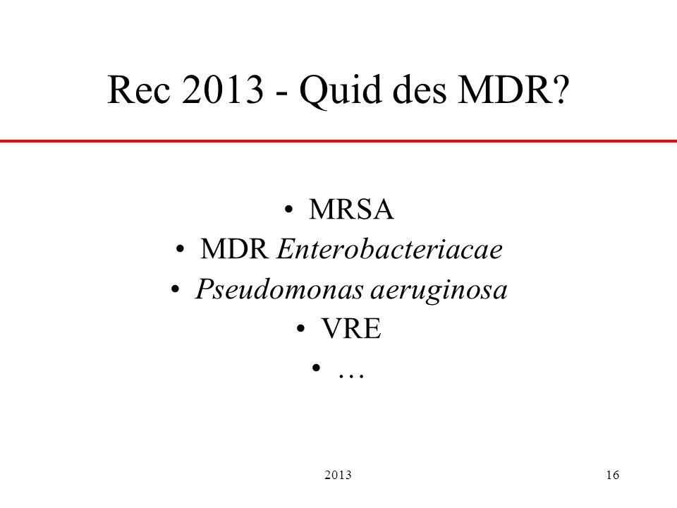 201316 Rec 2013 - Quid des MDR? MRSA MDR Enterobacteriacae Pseudomonas aeruginosa VRE …