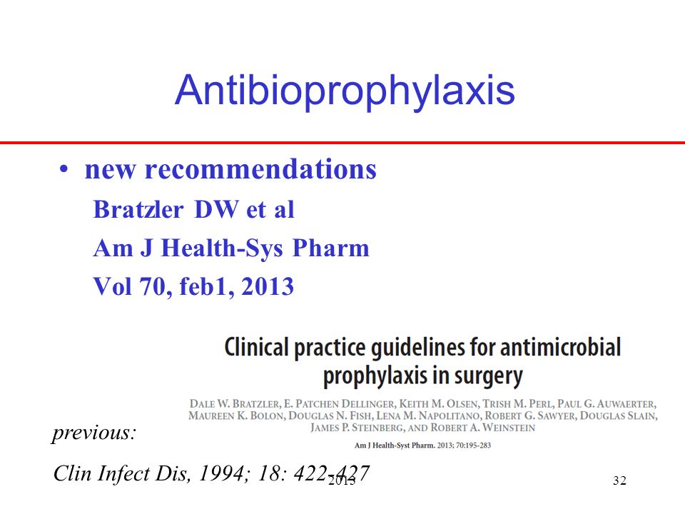 201332 Antibioprophylaxis new recommendations Bratzler DW et al Am J Health-Sys Pharm Vol 70, feb1, 2013 previous: Clin Infect Dis, 1994; 18: 422-427