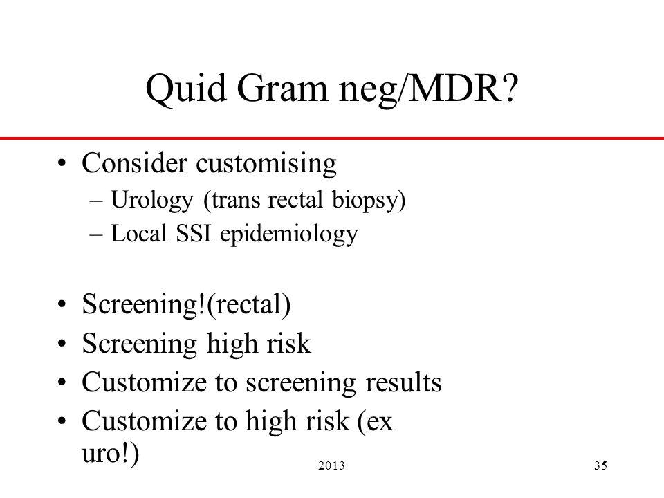 201335 Quid Gram neg/MDR? Consider customising –Urology (trans rectal biopsy) –Local SSI epidemiology Screening!(rectal) Screening high risk Customize