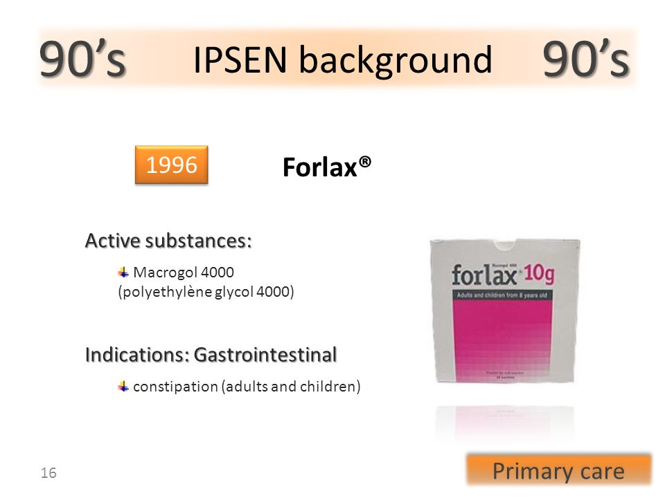90s 90s IPSEN background 1996 Indications: Gastrointestinal constipation (adults and children) Forlax® Active substances: Macrogol 4000 (polyethylène