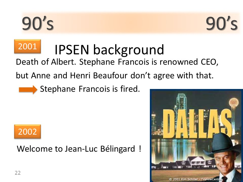 90s 90s IPSEN background Death of Albert. Stephane Francois is renowned CEO, but Anne and Henri Beaufour dont agree with that. Stephane Francois is fi