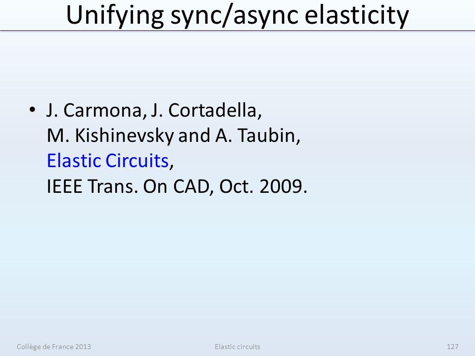 Unifying sync/async elasticity J. Carmona, J. Cortadella, M. Kishinevsky and A. Taubin, Elastic Circuits, IEEE Trans. On CAD, Oct. 2009. Collège de Fr
