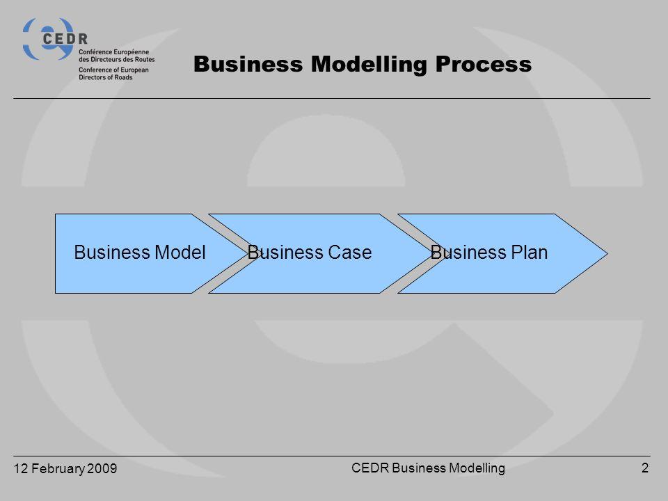 12 February 2009 CEDR Business Modelling2 Business Modelling Process Business Model Business Case Business Plan