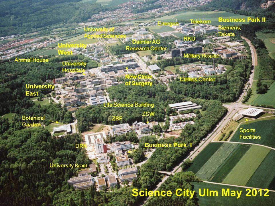 Science City Ulm May 2012 University Board Botanical Garden University East University Hospitals New Clinic of Surgery Business Park I ZSW Sports Faci