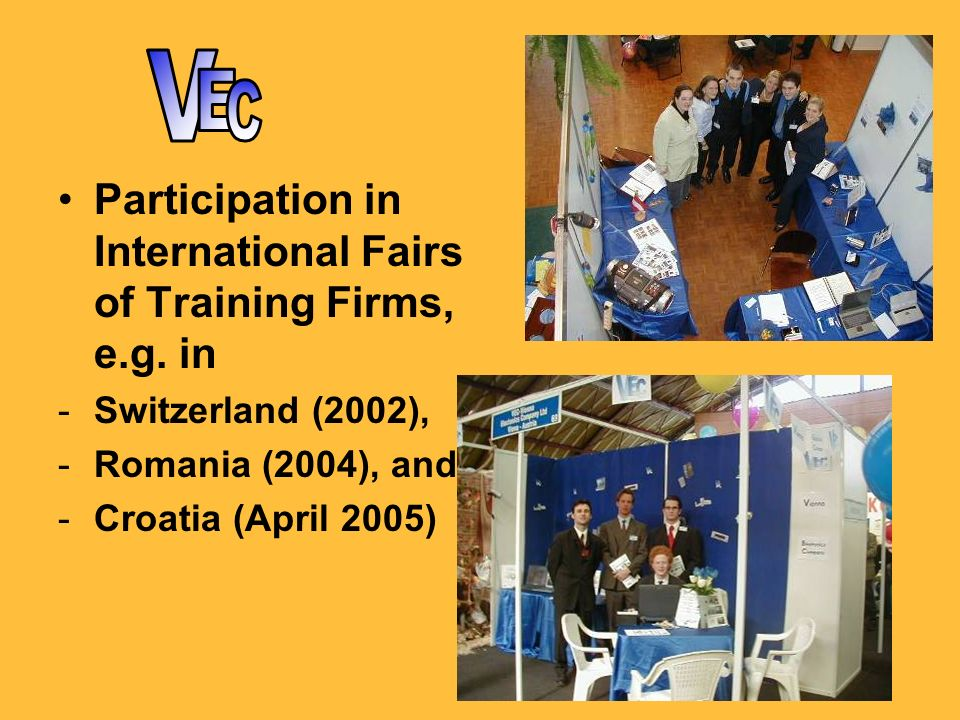 Participation in International Fairs of Training Firms, e.g.