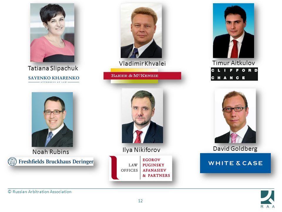 © Russian Arbitration Association 12 Vladimir Khvalei Timur Aitkulov Tatiana Slipachuk Noah Rubins David Goldberg Ilya Nikiforov
