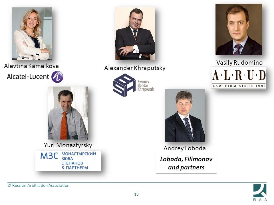 © Russian Arbitration Association 13 Vasily Rudomino Alevtina Kamelkova Alexander Khraputsky Yuri Monastyrsky Andrey Loboda Loboda, Filimonov and partners