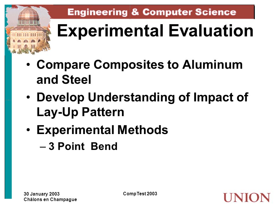 30 January 2003 Châlons en Champague CompTest 2003 Experimental Evaluation Compare Composites to Aluminum and Steel Develop Understanding of Impact of