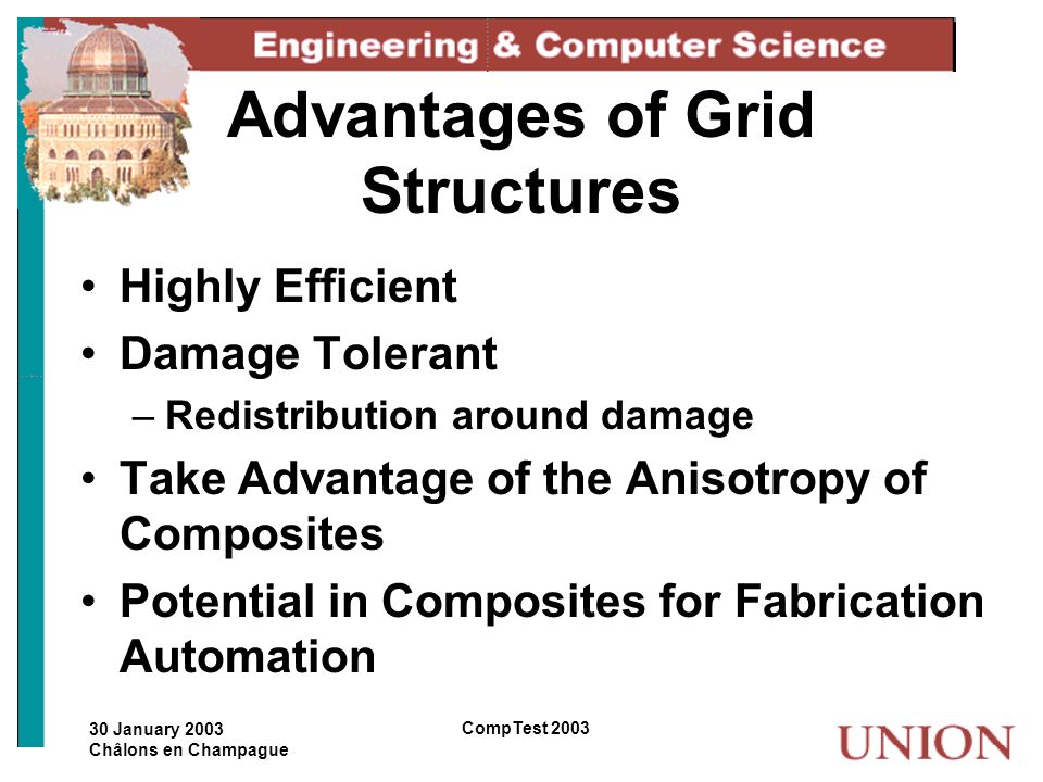 30 January 2003 Châlons en Champague CompTest 2003 Advantages of Grid Structures Highly Efficient Damage Tolerant –Redistribution around damage Take A