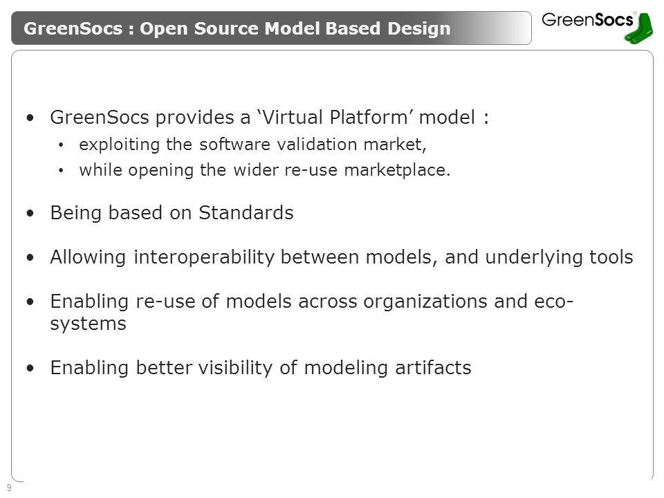 9 Enabling System Level Design Guaranteeing success of SMEs GreenSocs : Open Source Model Based Design GreenSocs provides a Virtual Platform model : e