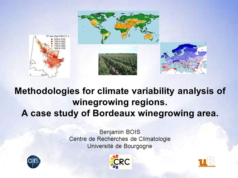 64% 21% 12% 1% Degree.days Zoning 2001-2005 period Cool zones ( +5 to +15 days): Early cultivars (Merlot, white cultivars,…) Warm zones ( -5 to -15 days): Late cultivars (Cabernet-Sauvignon, Petit Verdot) Climate change consideration Interclass interval : 42 to 79 DD 5 to 11 days