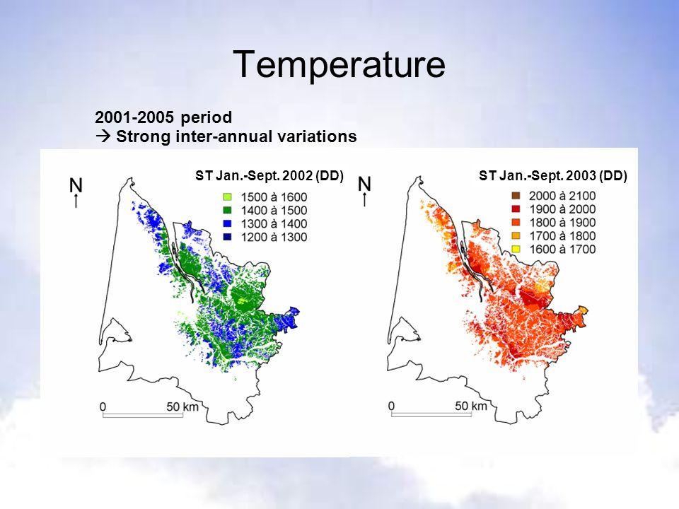 Temperature 2001-2005 period Strong inter-annual variations ST Jan.-Sept. 2002 (DD) ST Jan.-Sept. 2003 (DD)