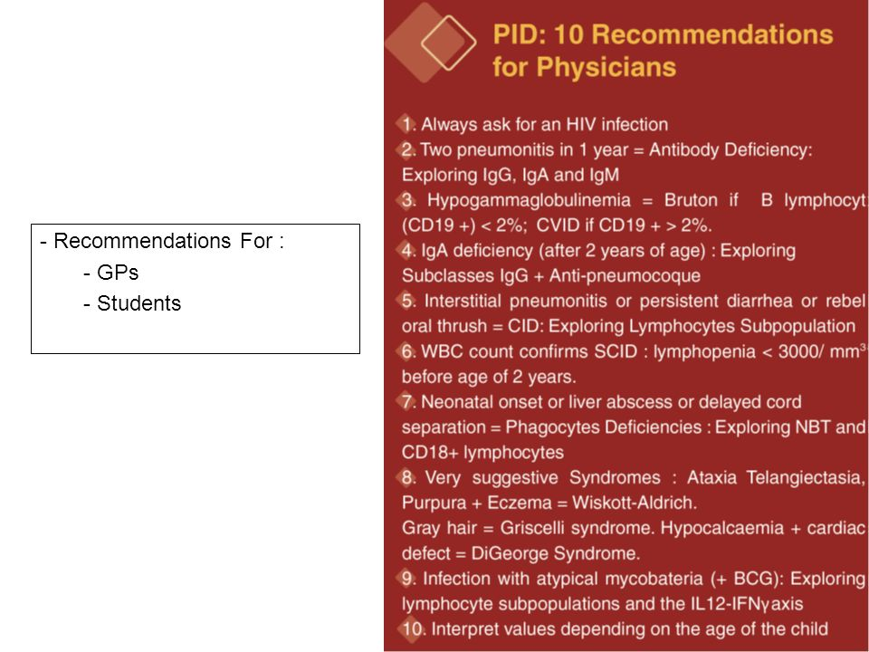 - Recommendations For : - GPs - Students