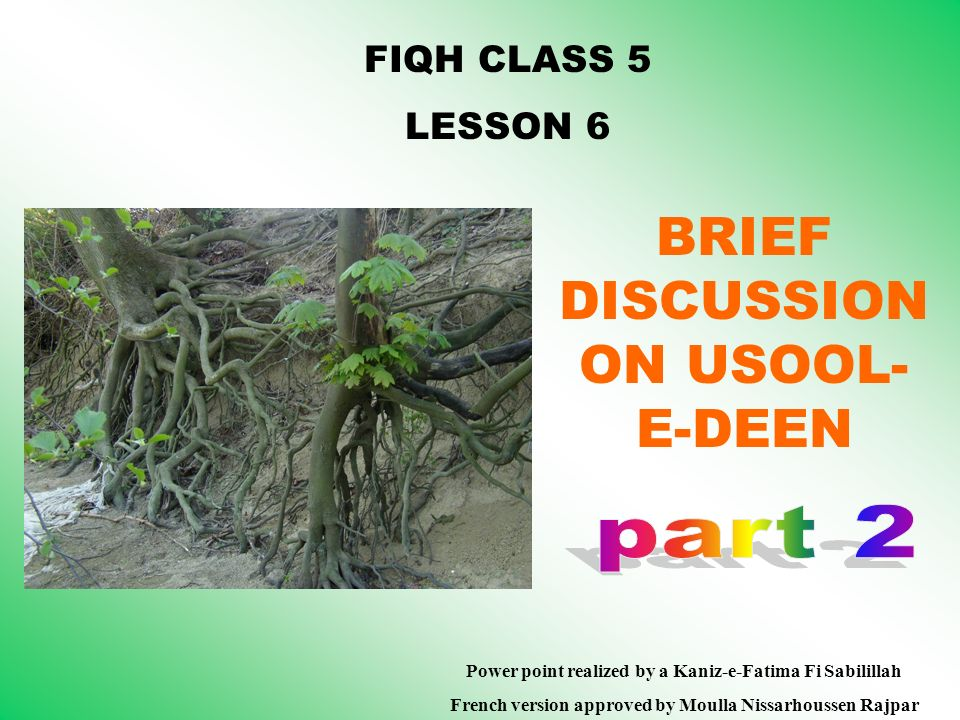 FIQH CLASS 5 LESSON 6 BRIEF DISCUSSION ON USOOL- E-DEEN Power point realized by a Kaniz-e-Fatima Fi Sabilillah French version approved by Moulla Nissa