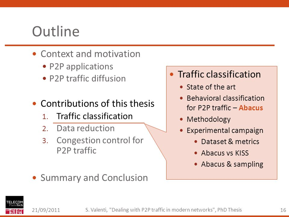 16 Outline Context and motivation P2P applications P2P traffic diffusion Contributions of this thesis 1.