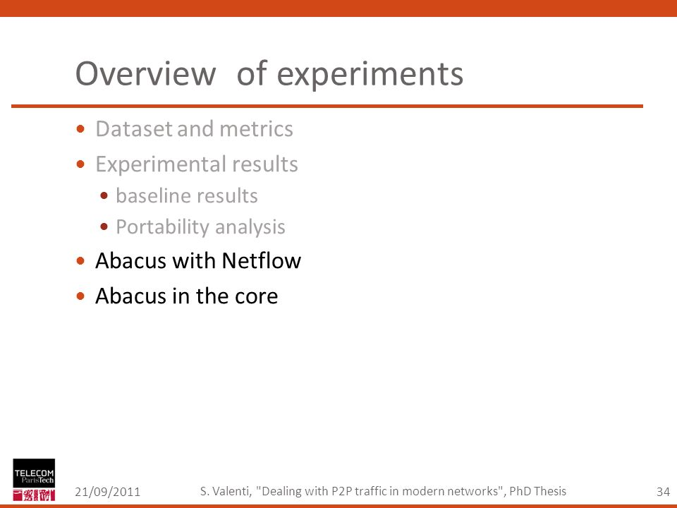 34 Overview of experiments 21/09/2011 S.