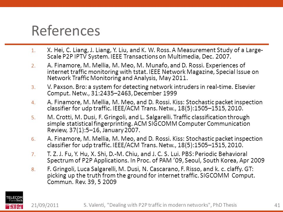 41 References 21/09/2011 S. Valenti, Dealing with P2P traffic in modern networks , PhD Thesis 1.