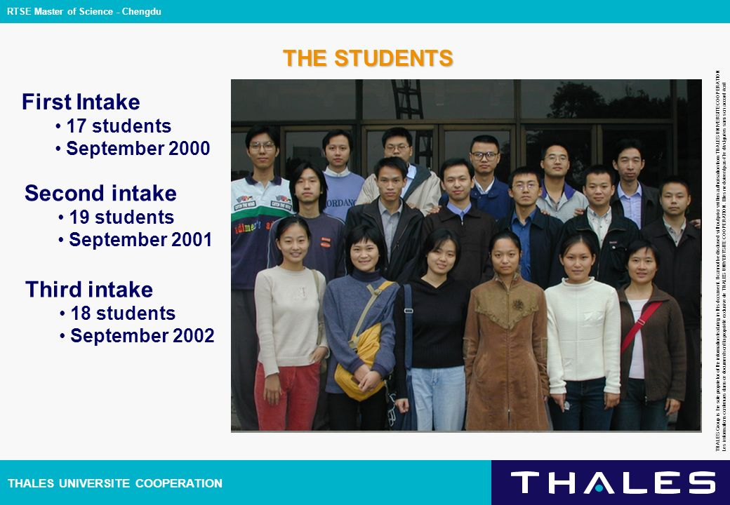 THALES UNIVERSITE COOPERATION THALES Group is the sole proprietor of the information featuring in this document.