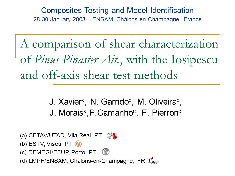 A comparison of shear characterization of Pinus Pinaster Ait., with the Iosipescu and off-axis shear test methods J. Xavier a, N. Garrido b, M. Olivei