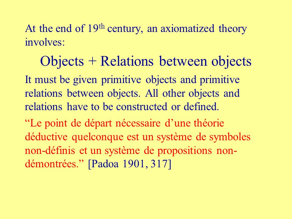 At the end of 19 th century, an axiomatized theory involves: Objects + Relations between objects It must be given primitive objects and primitive rela
