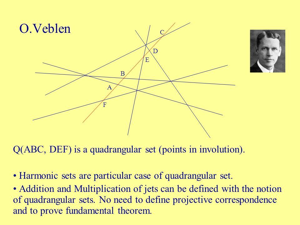 O.Veblen Q(ABC, DEF) is a quadrangular set (points in involution). Harmonic sets are particular case of quadrangular set. Addition and Multiplication