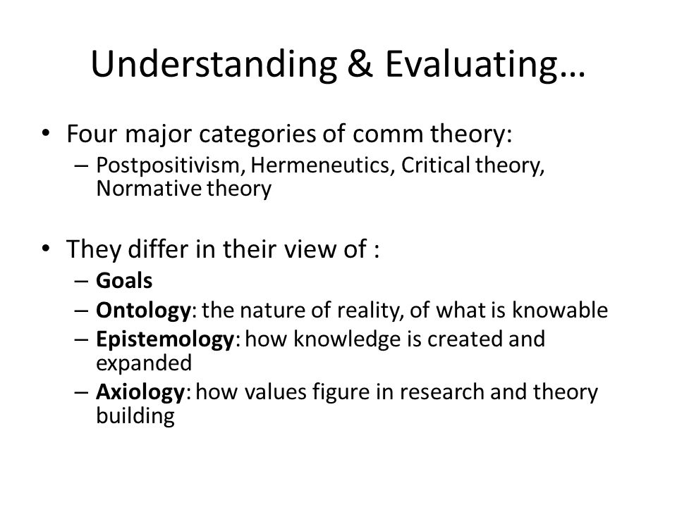Understanding & Evaluating… Four major categories of comm theory: – Postpositivism, Hermeneutics, Critical theory, Normative theory They differ in the